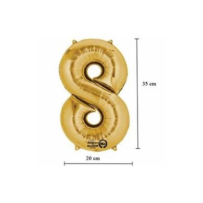 16 inch-es 8 - Arany Számos Minishape Fólia Lufi