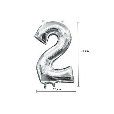 16 inch-es 2 - Ezüst Számos Minishape Fólia Lufi