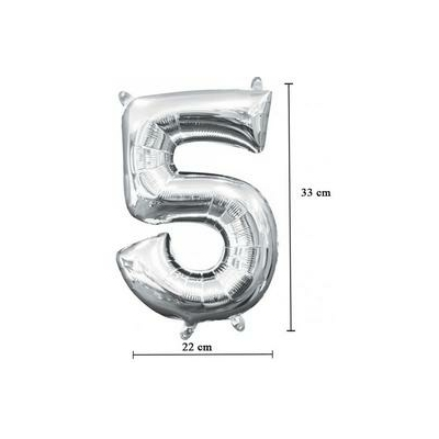 16 inch-es 5 - Ezüst Számos Minishape Fólia Lufi