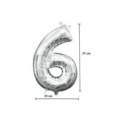 16 inch-es 6 - Ezüst Számos Minishape Fólia Lufi