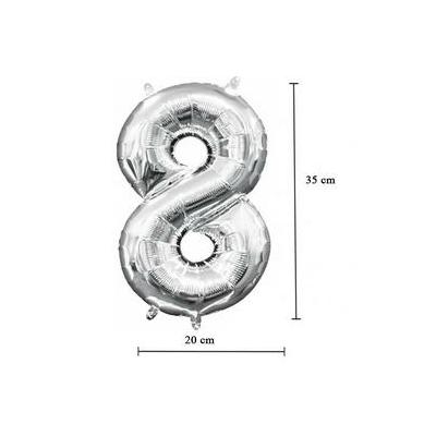 16 inch-es 8 - Ezüst Számos Minishape Fólia Lufi
