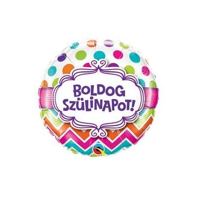 18 inch-es Boldog Születésnapot Chevron Dots Szülinapi Fólia Lufi