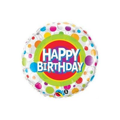 18 inch-es Happy Birthday Colorful Dots - Színes Pöttyös Szülinapi Fólia Lufi