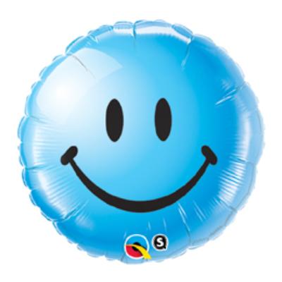 18 inch-es Kék Mosolygós Arc - Smile Face Blue Fólia Lufi