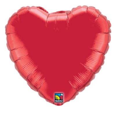 9 inch-es Rubinvörös - Ruby Red Szív Fólia Lufi