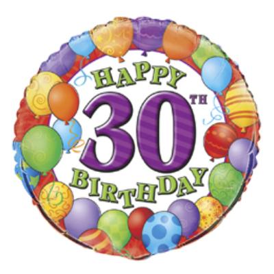 18 inch-es 30th Birthday Balloons - Léggömbös Szülinapi Számos Fólia Lufi