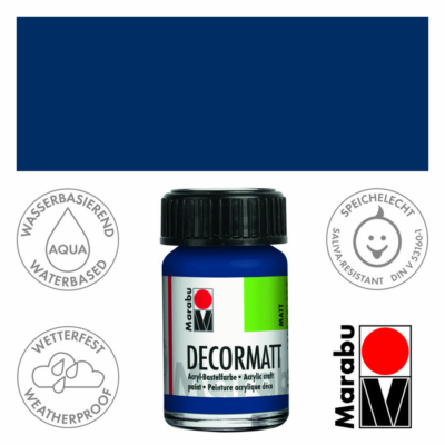 Marabu Decormatt - Matt akrilfesték 15 ml - Dark Blue - 053