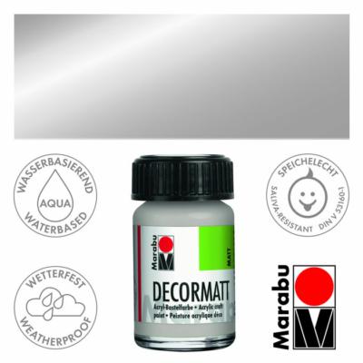 Marabu Decormatt - Matt akrilfesték 15 ml - Metallic-Silver - 782