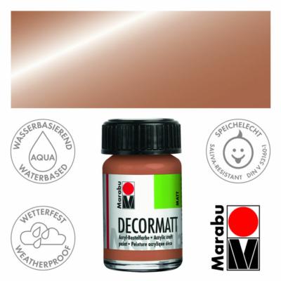 Marabu Decormatt - Matt akrilfesték 15 ml - Metallic-Copper - 787