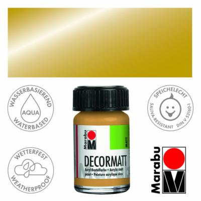 Marabu Decormatt - Matt akrilfesték 15 ml - Metallic-Gold - 784