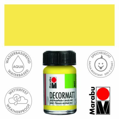 Marabu Decormatt - Matt akrilfesték 15 ml - Lemon - 020