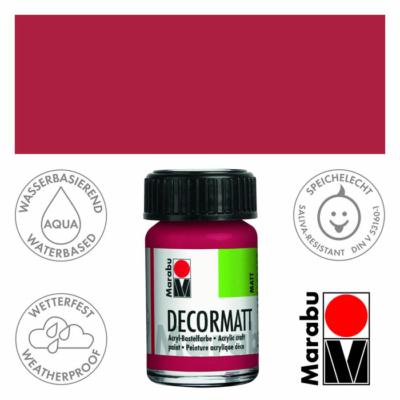 Marabu Decormatt - Matt akrilfesték 15 ml - Camine Red - 032