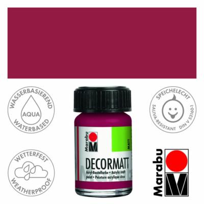 Marabu Decormatt - Matt akrilfesték 15 ml - Garnet Red - 004