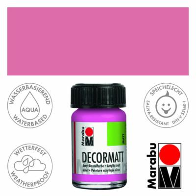 Marabu Decormatt - Matt akrilfesték 15 ml - Pink - 033