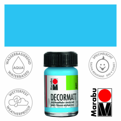 Marabu Decormatt - Matt akrilfesték 15 ml - Light Blue - 090