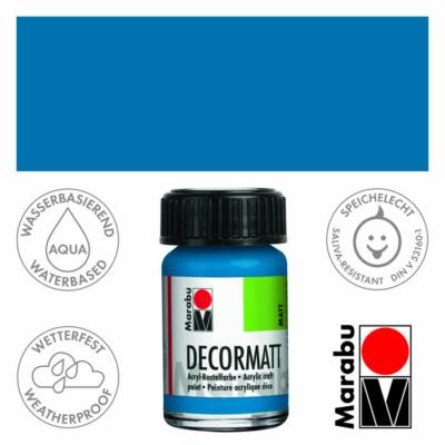 Marabu Decormatt - Matt akrilfesték 15 ml - Azure Blue - 095