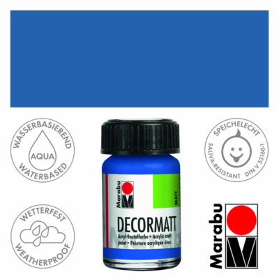 Marabu Decormatt - Matt akrilfesték 15 ml - Medium Blue - 052