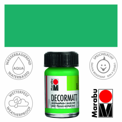 Marabu Decormatt - Matt akrilfesték 15 ml - Light Green - 062