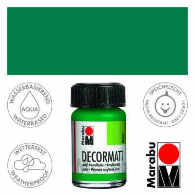 Marabu Decormatt - Matt akrilfesték 15 ml - Rich Green - 067
