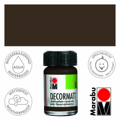 Marabu Decormatt - Matt akrilfesték 15 ml - Dark Brown - 045