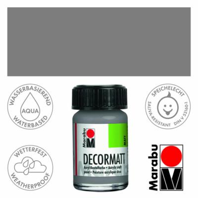 Marabu Decormatt - Matt akrilfesték 15 ml - Light Grey - 278