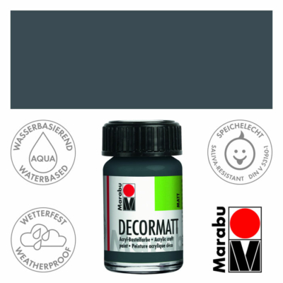Marabu Decormatt - Matt akrilfesték 15 ml - Dark Grey - 079