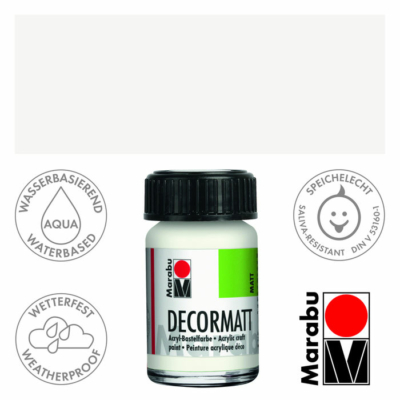Marabu Decormatt - Matt akrilfesték 15 ml - White -070