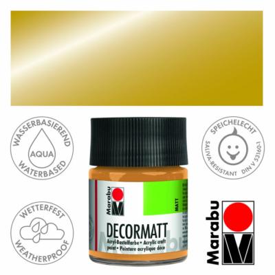 Marabu Decormatt - Matt akrilfesték 50 ml - Metallic-Gold - 784