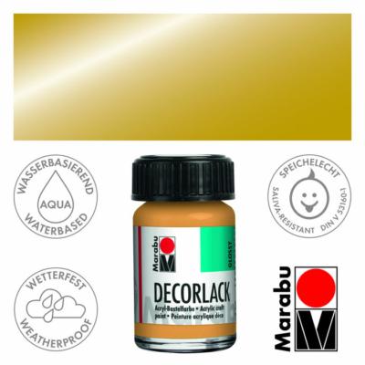Marabu Decorlack - Fényes akrilfesték 15ml - Metallic-Gold - 784