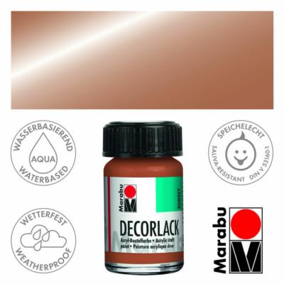 Marabu Decorlack - Fényes akrilfesték 15ml - Metallic-Copper - 787