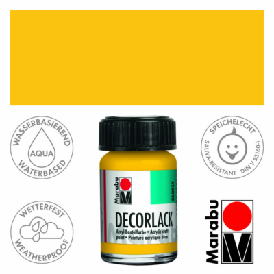 Marabu Decorlack - Fényes akrilfesték 15ml - Medium Yellow - 021