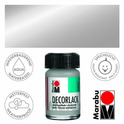 Marabu Decorlack - Fényes akrilfesték 15ml - Metallic-Silver - 782
