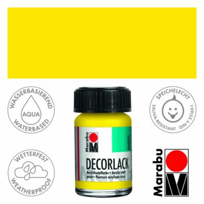 Marabu Decorlack - Fényes akrilfesték 15ml - Yellow - 019