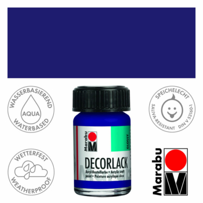 Marabu Decorlack - Fényes akrilfesték 15ml - Dark Violet - 051