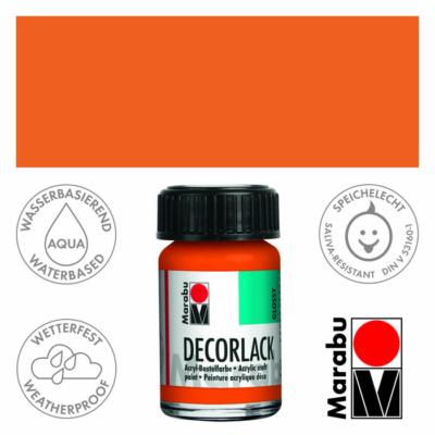 Marabu Decorlack - Fényes akrilfesték 15ml - Orange - 013