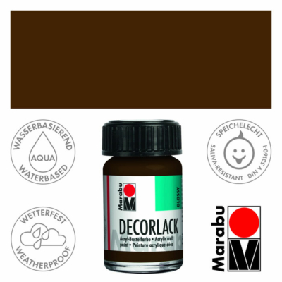 Marabu Decorlack - Fényes akrilfesték 15ml - Dark Brown - 045