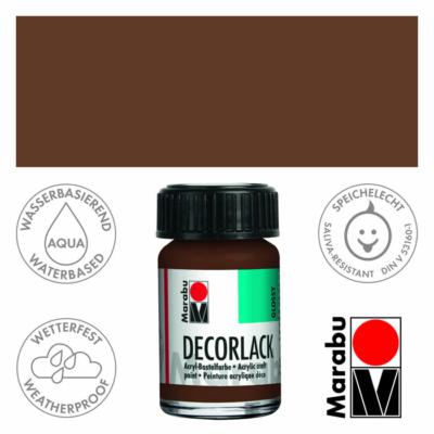 Marabu Decorlack - Fényes akrilfesték 15ml - Medium Brown - 040