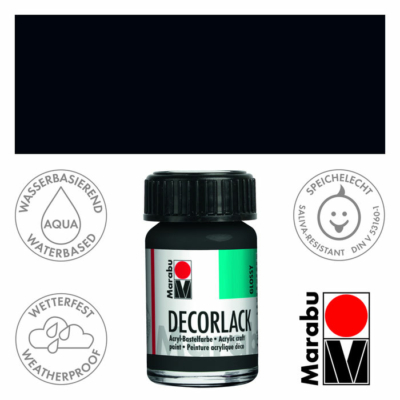 Marabu Decorlack - Fényes akrilfesték 15ml - Black - 073