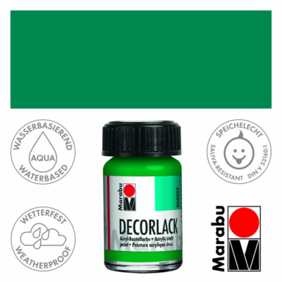 Marabu Decorlack - Fényes akrilfesték 15ml - Rich Green - 067