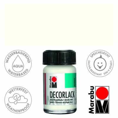 Marabu Decorlack - Fényes akrilfesték 15ml - White - 070