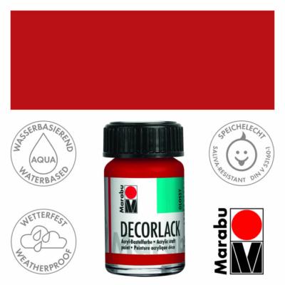 Marabu Decorlack - Fényes akrilfesték 15ml - Cherry Red - 031