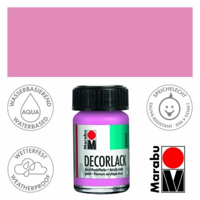 Marabu Decorlack - Fényes akrilfesték 15ml - Pink - 033