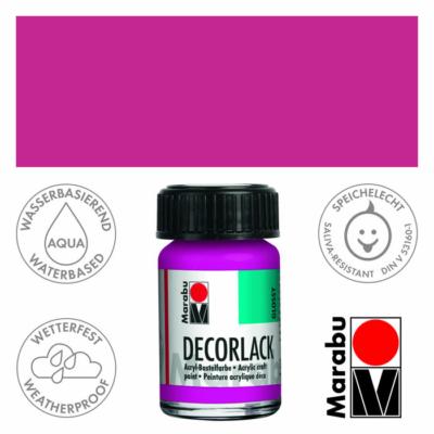 Marabu Decorlack - Fényes akrilfesték 15ml - Magenta - 014