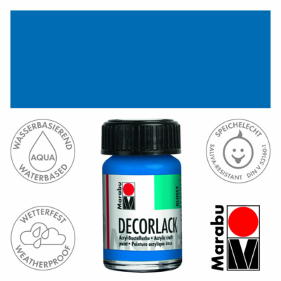 Marabu Decorlack - Fényes akrilfesték 15ml - Azure Blue - 095