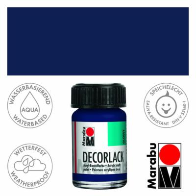 Marabu Decorlack - Fényes akrilfesték 15ml - Dark Blue - 053