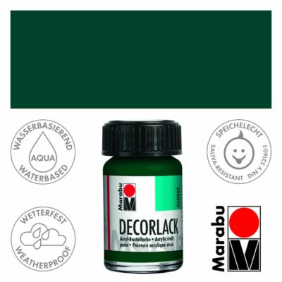 Marabu Decorlack - Fényes akrilfesték 15ml - Pine Green - 075
