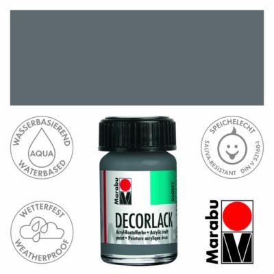 Marabu Decorlack - Fényes akrilfesték 15ml - Grey - 078