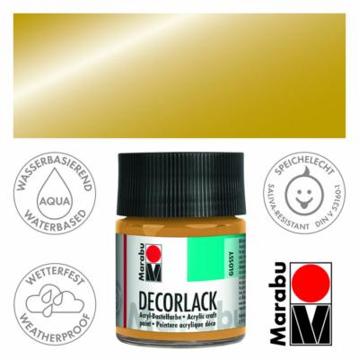Marabu Decorlack - Fényes akrilfesték 50ml - Metallic-Gold - 784