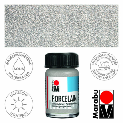 Marabu Porcelain - Porcelánfesték 15ml - Glitter-Silver - 582