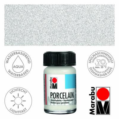 Marabu Porcelain - Porcelánfesték 15ml - Glitter-White - 570
